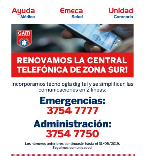 Unidad Coronaria, Emeca Salud  y Ayuda Médica (zona sur) renuevan su central telefónica!